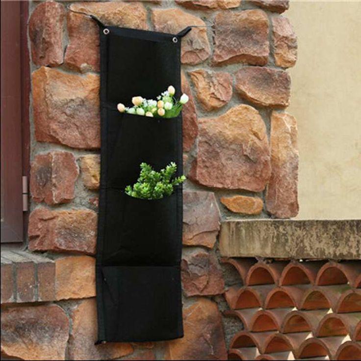 4 bolsos Hanging decoração vasos de flores plantador de parede , parede de plantio de plantio de alishoppbrasil