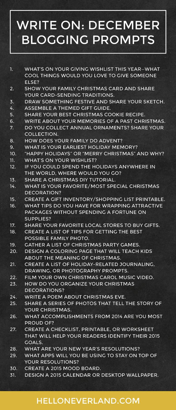 Happy December, y'all! This is the last month that there will be a complete list of prompts...