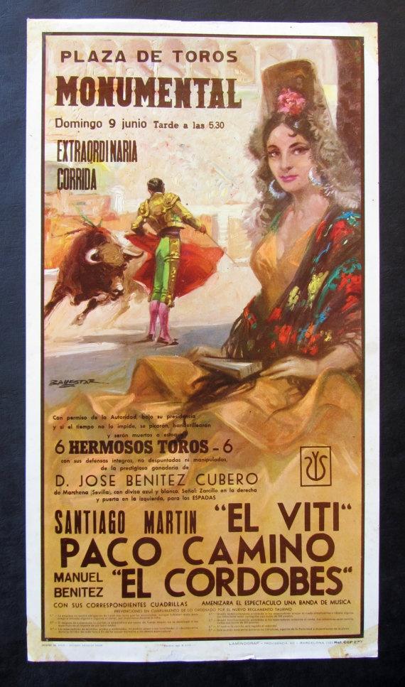 Affiche espagnole de corrida datée des années 60 par someoldnews, $44,00