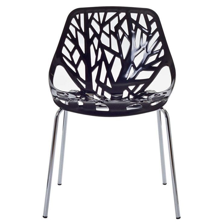 Birch sapling black plastic modern dining chair eei 651 for Black plastic dining chairs