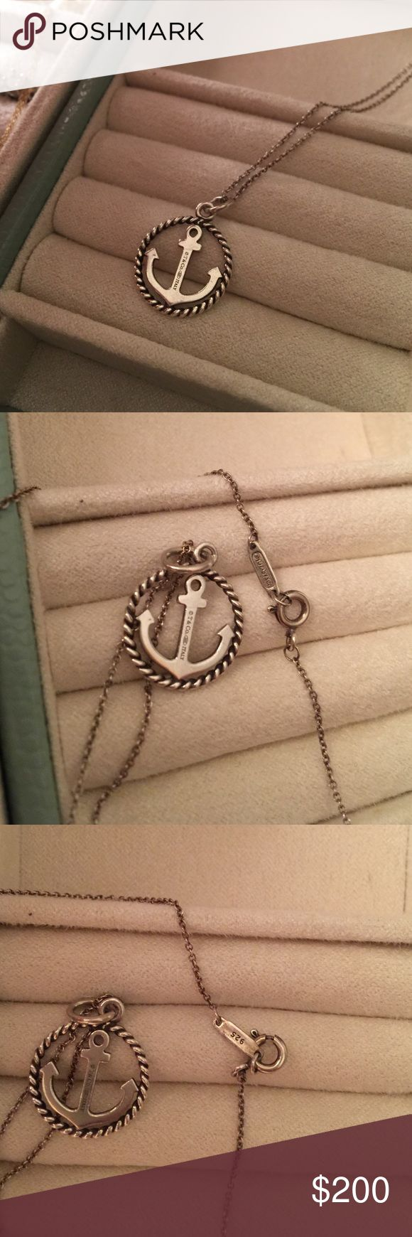 TIFFANY & CO- sterling silver anchor necklace Classic anchor with twisted wire- authentic Tiffany & Co. marked 925 and Tiffany stamp. A little tarnished but nothing silver cleaner couldn't take off. 16 in chain Tiffany & Co. Jewelry Necklaces