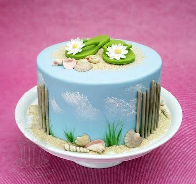 Strand Urlaubs Torte beach cake mit Flip Flops