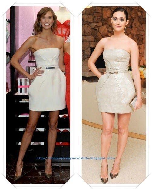 Un vestido de Kaufmanfranco Resort 2014 lo llevo en blanco a Karlie Kloss en un evento de Victoria Secret; después se lo vimos a Emmy Rossum en un evento de Jimmy Choo.