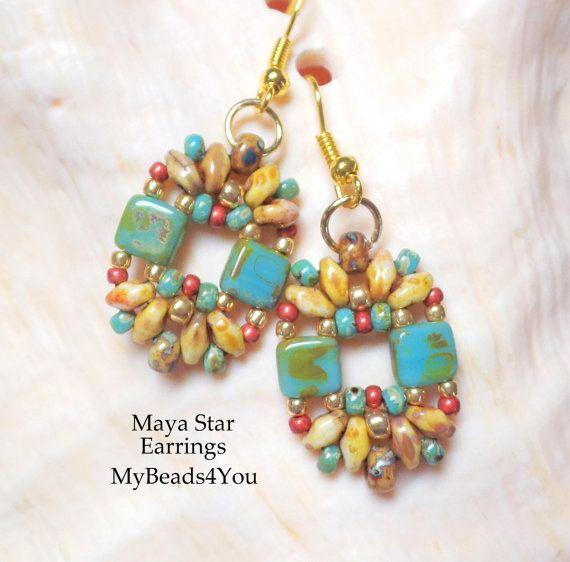 SuperDuo Beadwoven Earrings Beadwork Earrings by mybeads4you