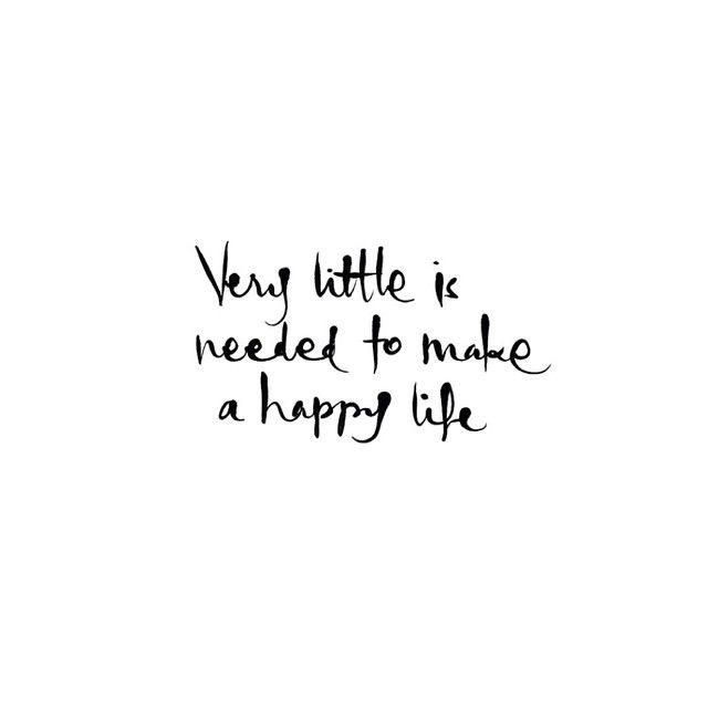 Very little is needed to make a happy life