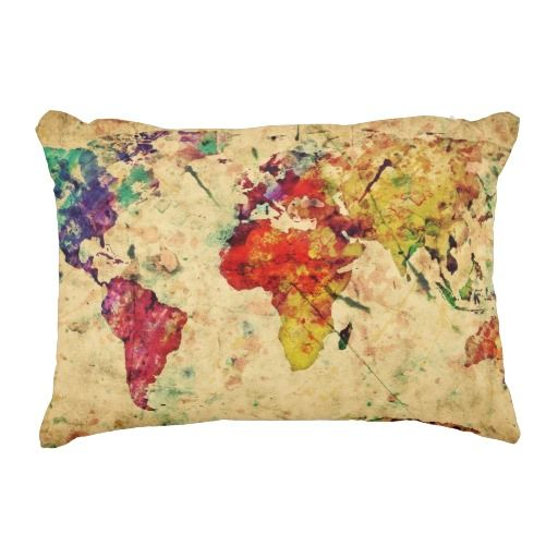 155 best world images on pinterest travel luggage packing and interestprint watercolor vintage world map home decor retro world map soft pillowcase 20 x 30 inches bright colorful pillow cover case shams decorative gumiabroncs Images