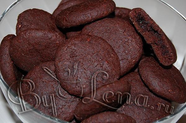 Шокoладное печенье с вареньем(постное) - Шаг 8