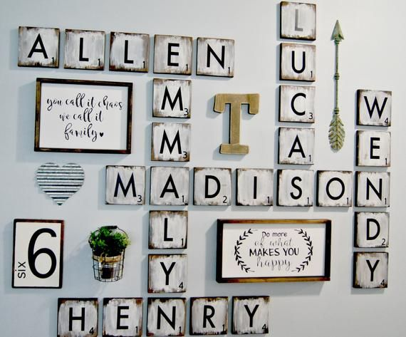 Large Scrabble wall Tiles , 5.5″ wood tiles blocks, Gallery Wall Decor, Farmhouse Style Decor, Personalized Sign, Wood Letter