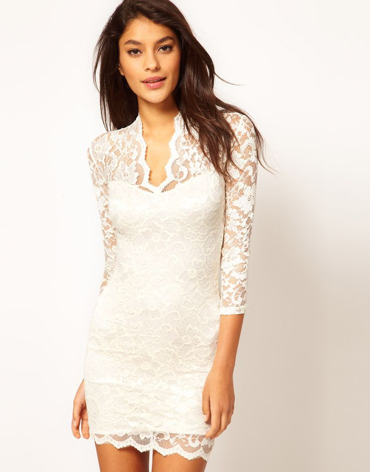 Embroidery Lace Column short cocktail dress UK with long Sleeves