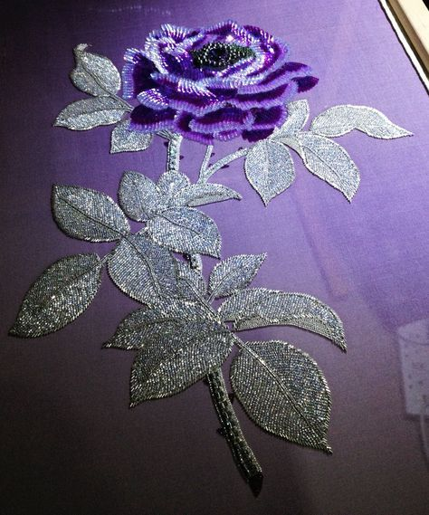 Purple Rose and Silver Leaves • all embroidered with beads.