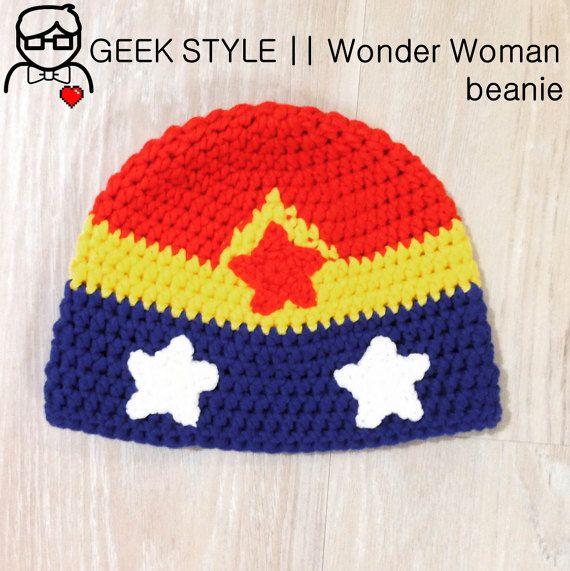 Wonder Woman-inspired beanie hat by TheSweetestGeekShop (AU$40 + postage)