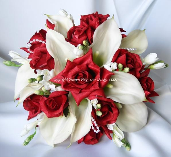 red roses and white calla lillies WEDDING BOUQUET - flowers