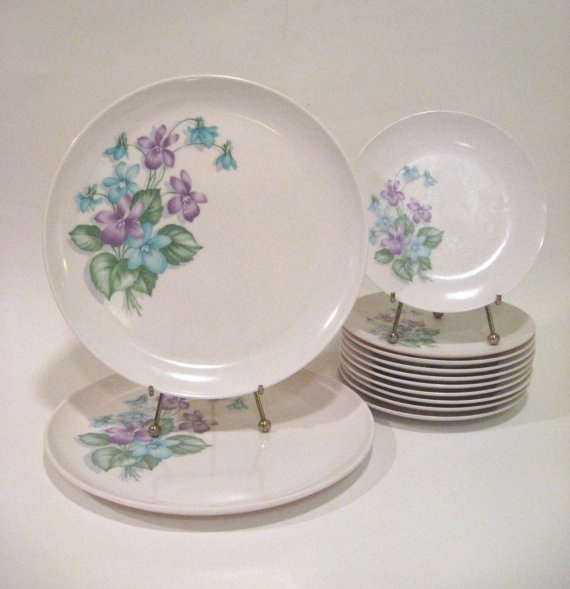 This is the melamine we had and used everyday in the 60's!  MidCentury Melamine Violet Purple Plate Set by WoolTrousers, $18.00