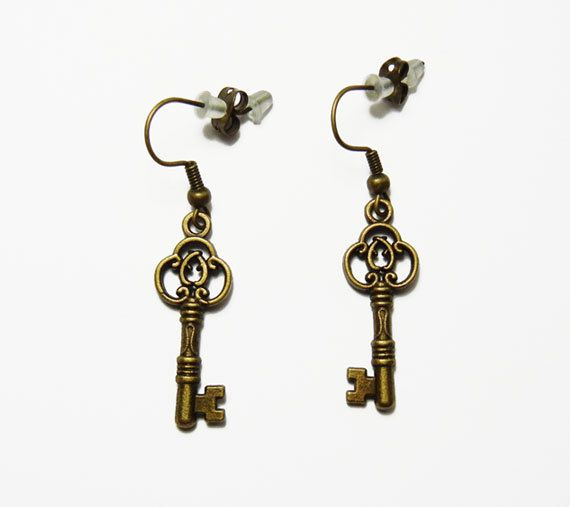 Beautiful Vintage Brass Bronze Skeleton Filigree Keys Earrings by FoxliciousDesign on Etsy