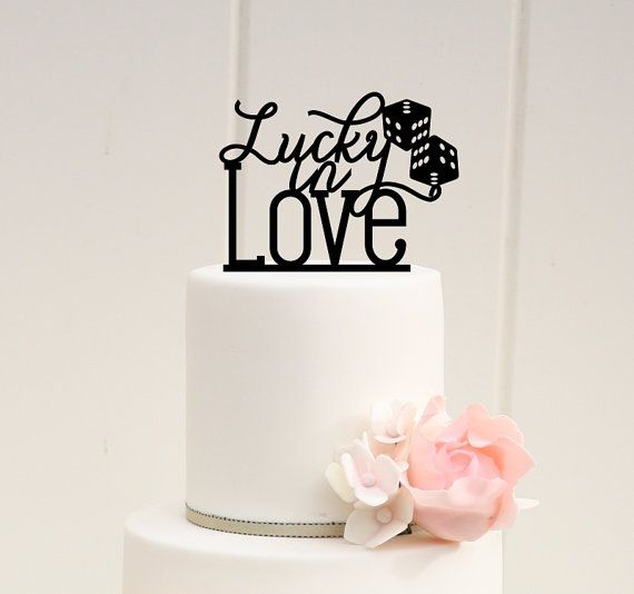 Lucky In Love With Dice Wedding Cake Topper