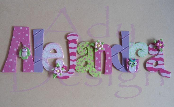 Letras decoradas nombres mdf masa flexible puerta cartel title caligrafia pinterest - Letras decoradas infantiles ...