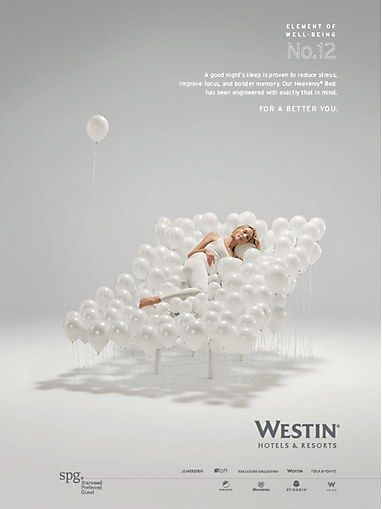 """There are beautiful balloons that are opaque to translucent. Should be an inexpensive decor??  Westin Hotel and Resorts """"For a Better You"""" print campaign"""