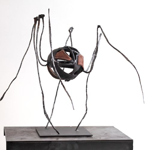 Lasse Nissilä: Totuus, 2013. Metal and leather. 41x46x54 cm.