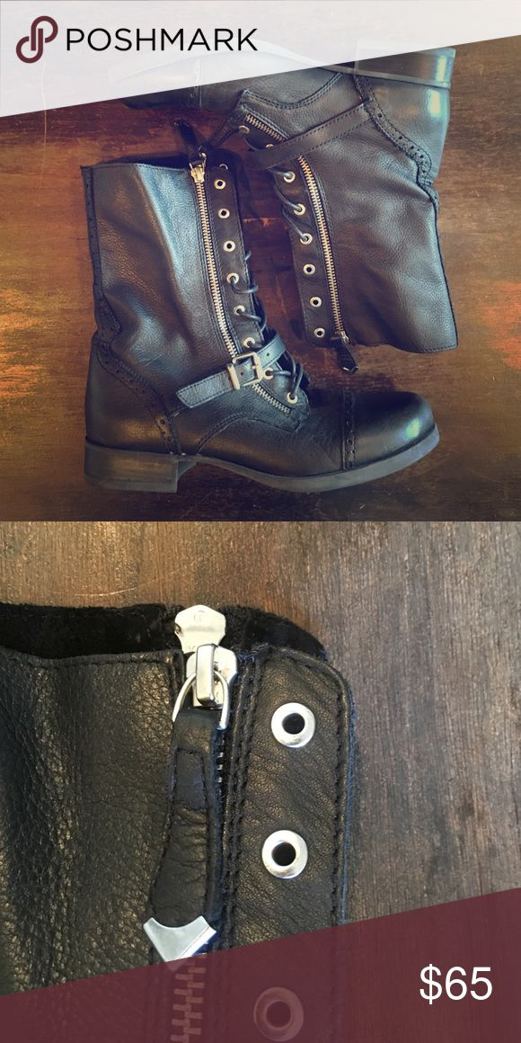ALDO Black Combat Boots Steam Punk 8 EUC Buckles Size 8 | Lightly Worn, But Great Condition! Lace up and zips up with zipper! Above your ankle boots, perfect with leggings or a little black dress. Smoke free home! Aldo Shoes Combat & Moto Boots