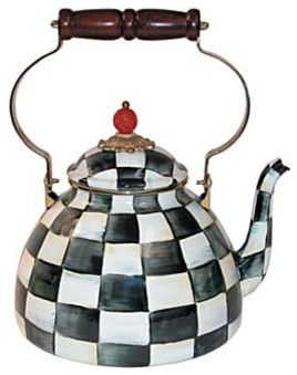 MacKenzie-Childs Courtly Check Enamel Tea Kettle 3 Quart - eclectic - coffee makers and tea kettles - MacKenzie-Childs