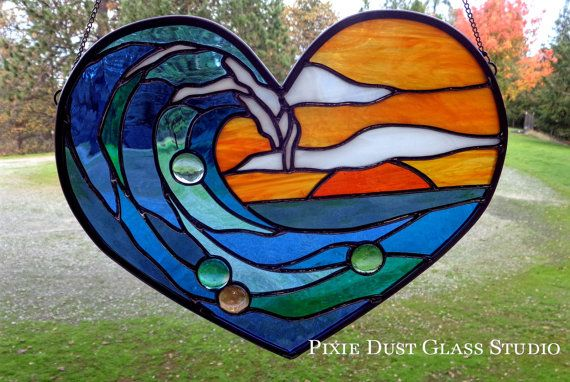 "Stained Glass Suncatcher ""Surf's Up at Sunset"" Heart Shaped Stained Glass Window, Deep Orange and Sea Blues, Coastal Decor, Beach Lover Gift"