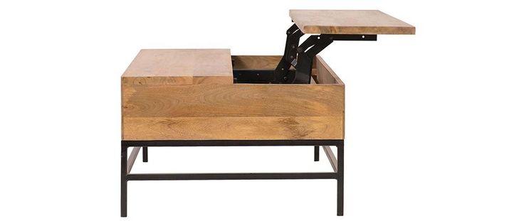 Table basse relevable industrielle manguier et métal 110cm YPSTER 429,90€