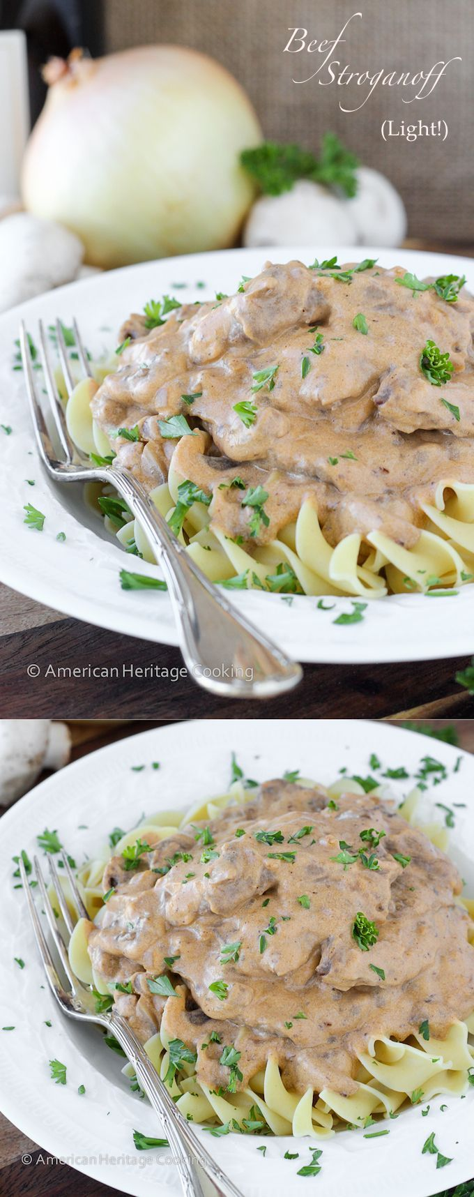 This Healthy Beef Stroganoff has all of the familiar flavor with none of the guilt! #americanheritagecooking #beefstroganoffrecipe #healthyrecipes