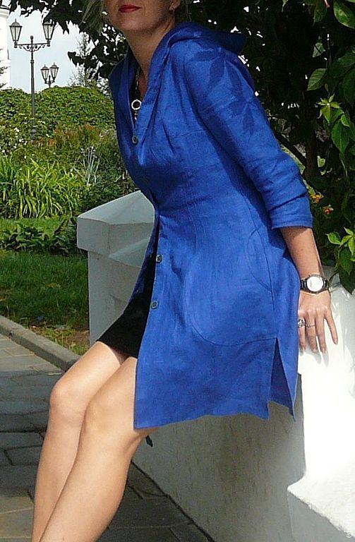 Купить Льняное платье-пальто - тёмно-синий, однотонный, платье, льняной плащ, плащ