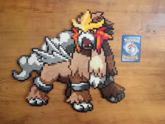 Hey, I found this really awesome Etsy listing at https://www.etsy.com/listing/191902314/entei-pokemon-perler-bead-sprite