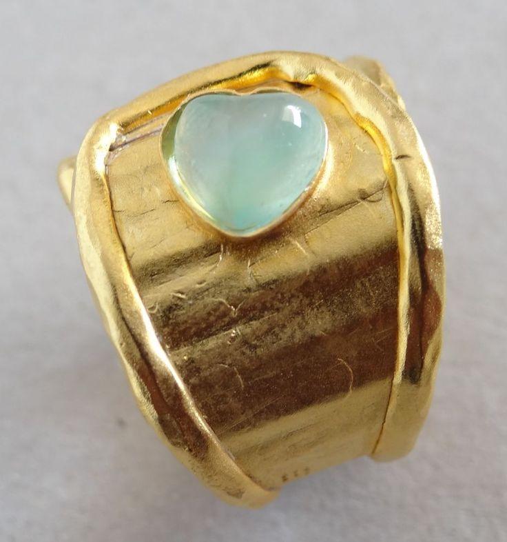 Designer Rarities 24K Gold Plated Sterling Silver Flex Ring Heart Gemstone