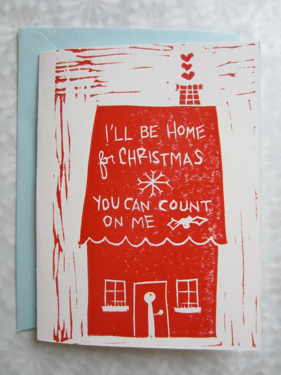 Ill Be Home For Christmas Handmade Red Song Lyrics Illustration Stamp Print Holiday Card