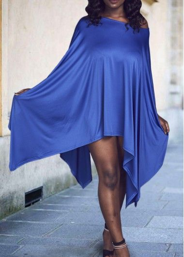 Royal Blue Side Slit Asymmetric T Shirt  Dress on sale only US$20.97 now, buy…