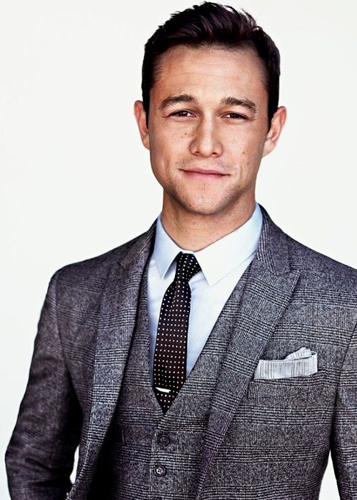 Joseph Gordon-Levitt wearing Charcoal Plaid Wool Blazer, Charcoal Plaid Wool…