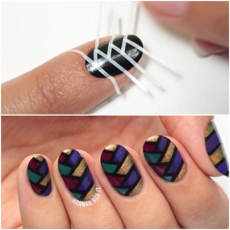 25+ bsta Tape nail designs iderna p Pinterest ...