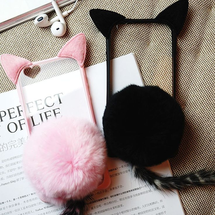 "Kawaii plush cat ear phone case - Use the code ""batty"" at Sanrense for 10% off your order!"