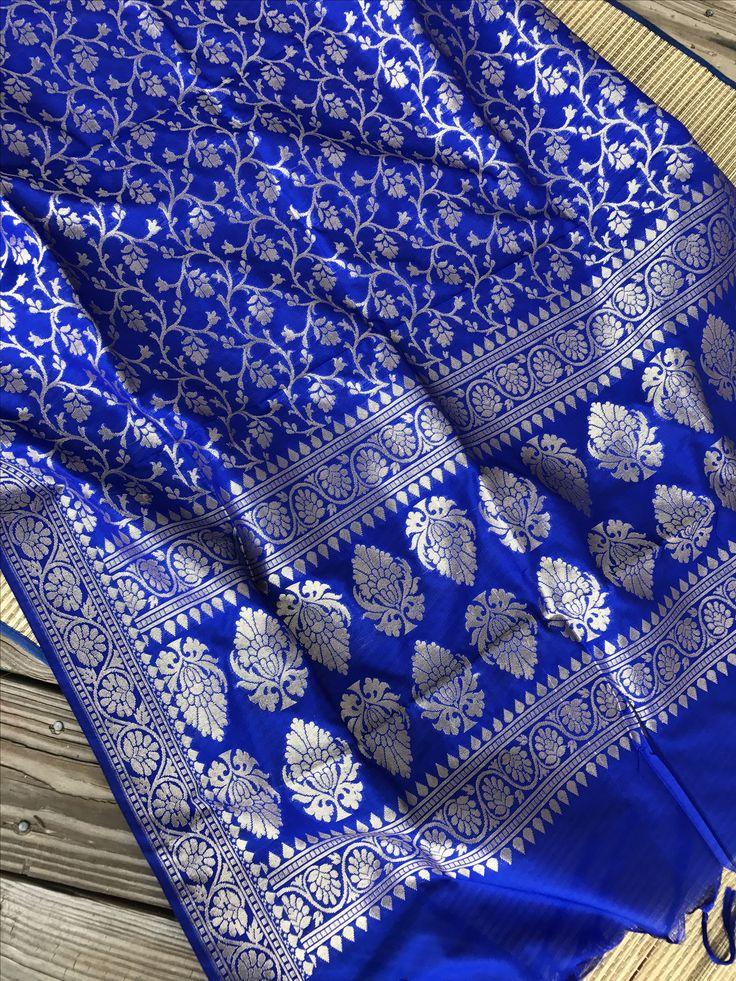 Banarasi Duppatta in Royal Blue and Gold