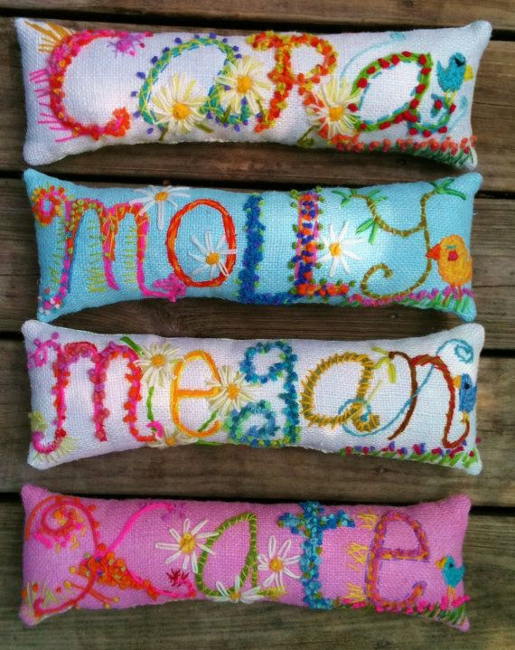 Name Embroidered on pillow