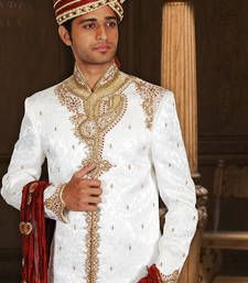 Buy white kinkhab fabric embroidered  sherwani sherwani online