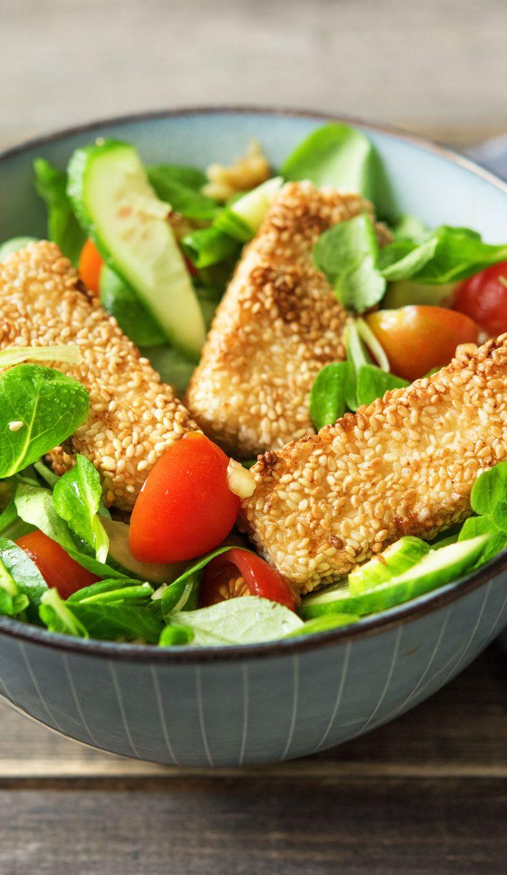 Rezept: Hirtenkäse in Sesamkruste, Salat mit Mango und Kirschtomaten Kochen / …   – gesunde Ernährung