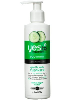 Organic cucumber and aloe vera in Yes to Cucumbers Gentle Milk Cleanser soothe and soften skin