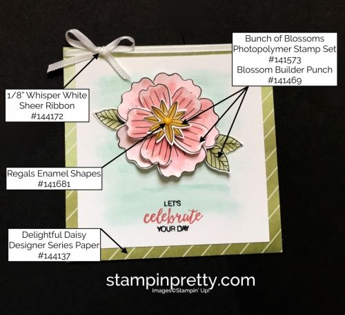 Bunch of Blossoms Stamp Set & Delightful Daisy Designer Series Paper Birthday Card.  Mary Fish, Stampin' Up! Demonstrator.  1000+ StampinUp & SUO card ideas.  Read more https://stampinpretty.com/2017/07/making-a-case-a-bunch-of-blossoms-squared.html