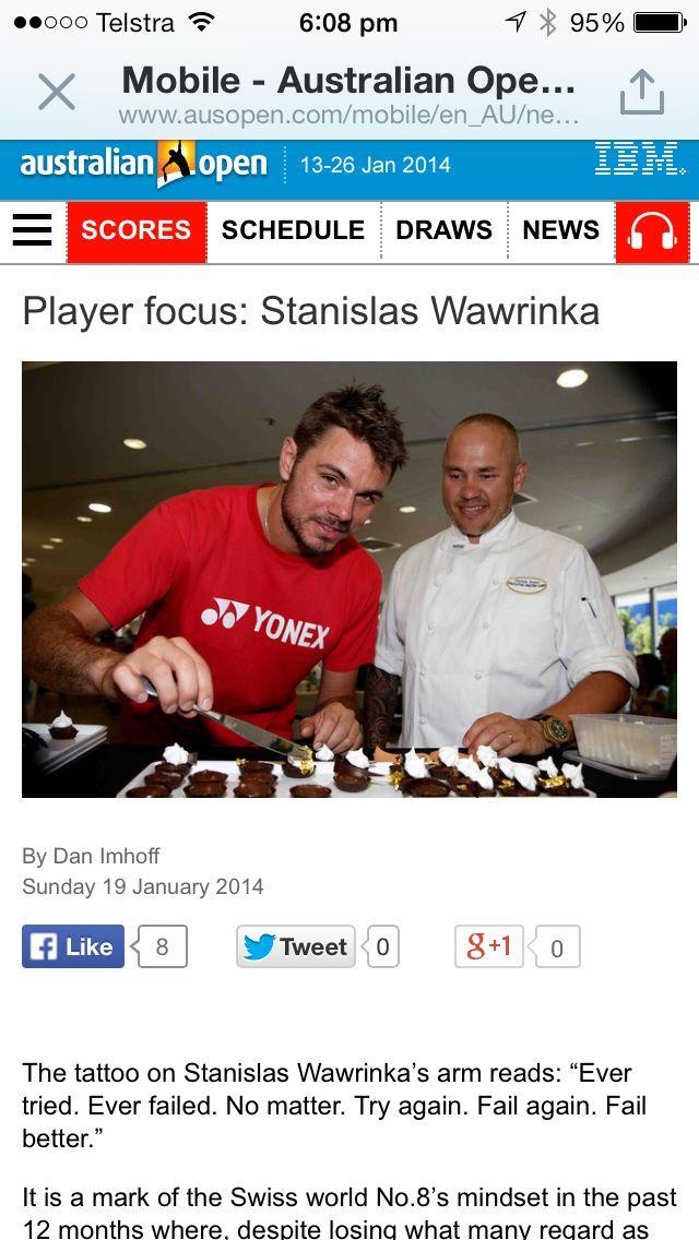 With Australian Open Champion 2014, Stan Wawrinka.   True Gentleman.
