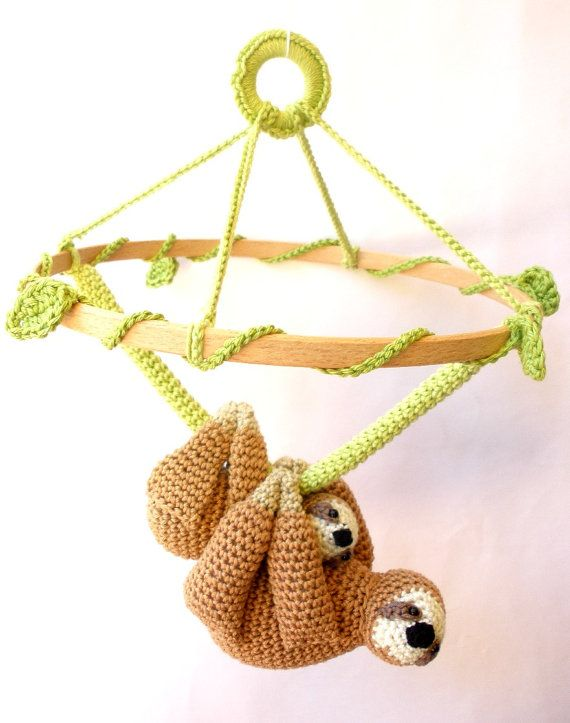 Sloth Nursery Mobile Mother & Baby Sloth Crochet by Crochetonatree