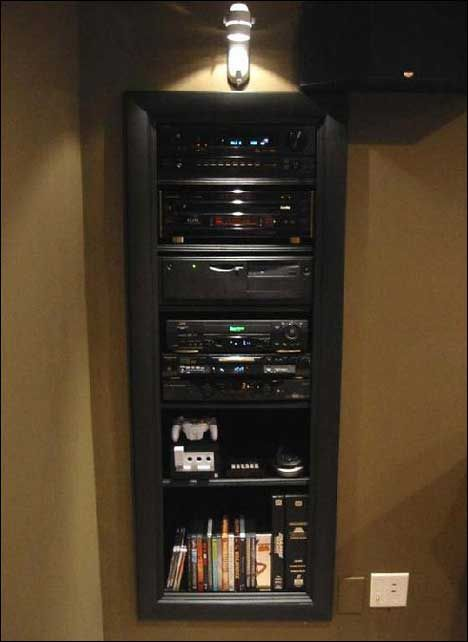 in-wall media closet--> only thing I would change would be to have a panel over the top so it would blend more!