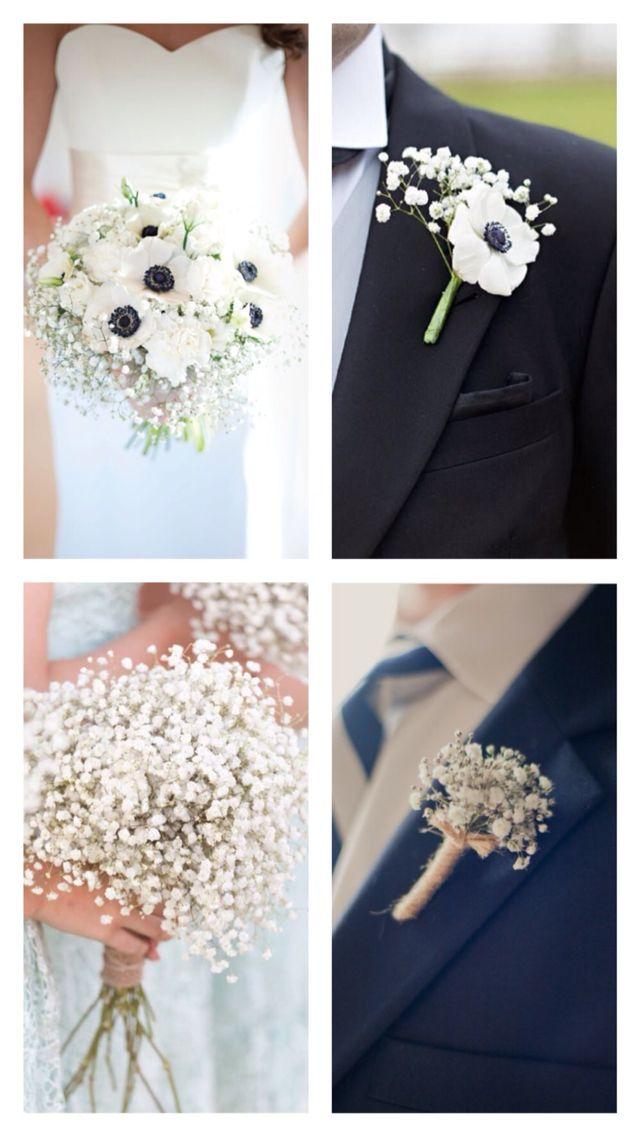 Babies Breath & Anemone: Bride, Groom & Wedding Party Bouquets & Boutonnières.