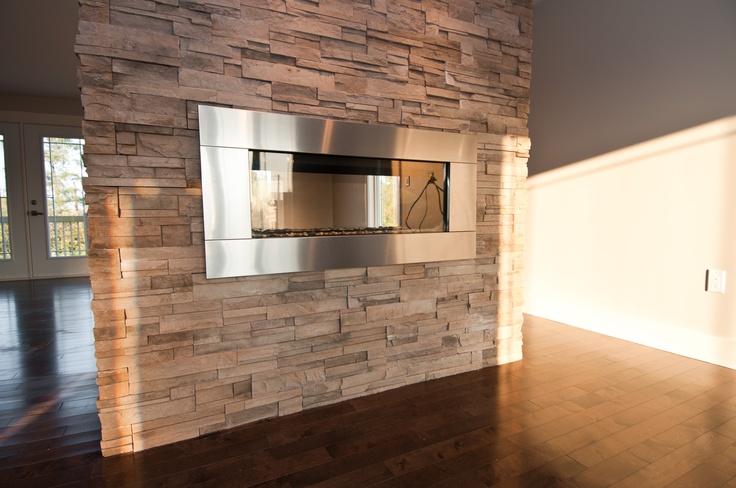 Double sided fireplace #custom #home