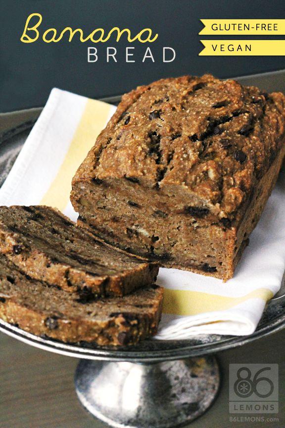 Healthy Banana Bread Recipe (vegan, gf) -- oat flour, cinnamon, baking powder, salt, dates, non-dairy milk, vanilla, bananas