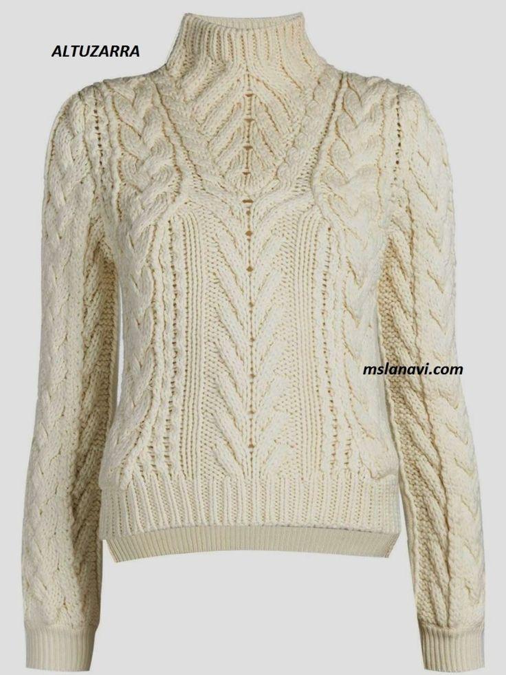 СХЕМА!    Вязаный свитер спицами от ALTUZARRA