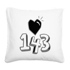 143 means I Love You Square Canvas Pillow> 143 means I Love You> Victory Ink Tshirts and Gifts