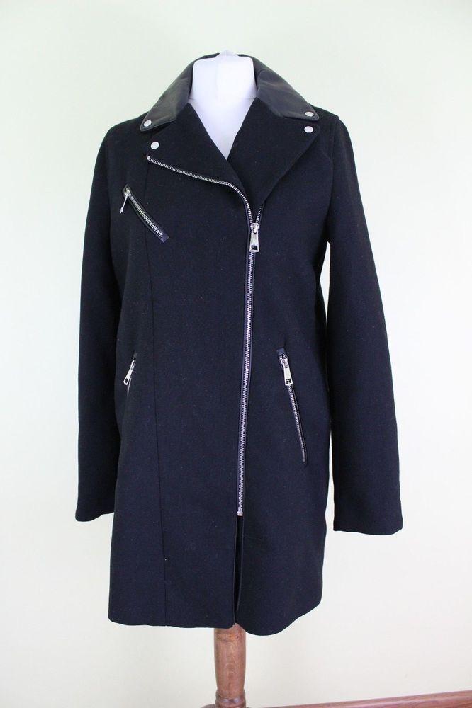 ZARA black wool faux leather women coat jacket  Size M UK 12 #Zara